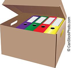 Cardboard box with office folders. Vector illustration.