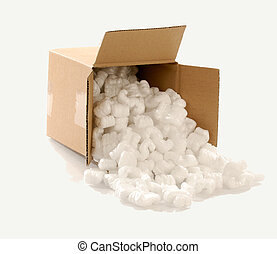 cardboard box with packing - Cardboard carton filled with...