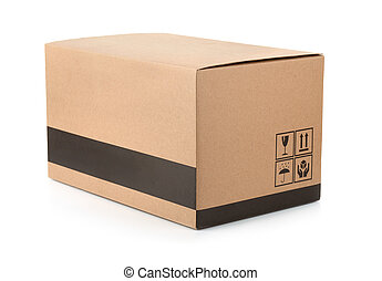 Cardboard box with packing symbols