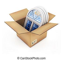 cardboard box with plastic windows isolated 3d illustration