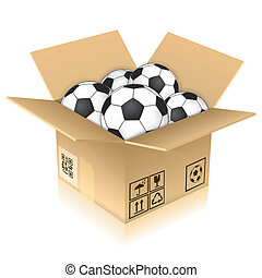 Cardboard Box with Soccer Balls