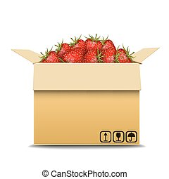 Cardboard box with strawberry for sale