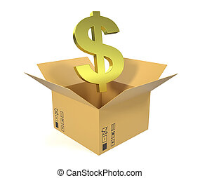 Cardboard box with symbol of dollar isolated on a white background.