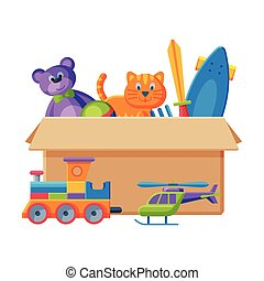 Cardboard Box with Various Toys, Container with Train, Teddy Bear, Sword, Scateboard,Cat Flat Vector Illustration