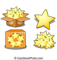 Cardboard box with yellow stars isolated on white background. Sample of poster, party holiday invitation, festive card. Vector cartoon close-up illustration.