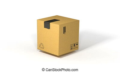 cardboard boxe assembly animation on white background for...