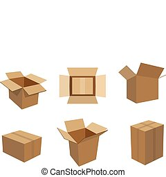 A set of 6 different cardboard boxes in an editable vector file.