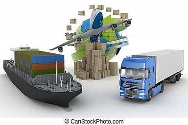 Cardboard boxes around globe, cargo ship, truck and plane