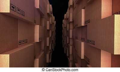 """Cardboard boxes at warehouse"" - ""Abstract rows of cardboard..."