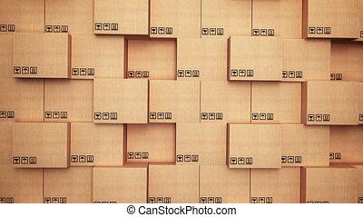 Cardboard boxes at warehouse.