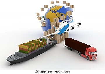 Cardboard boxes, cargo ship, truck - Cardboard boxes around...
