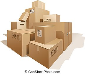 Cardboard boxes - Stack of boxes isolated on white. Eps8....