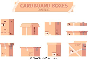 Cardboard boxes. Delivery packages shipping container symbols garish vector illustrations collection
