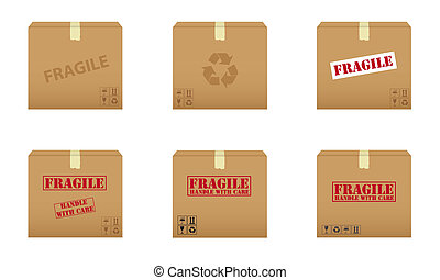 Cardboard boxes - Collection of cardboard boxes with fragile...