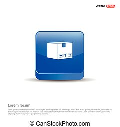 cardboard boxes icon - 3d Blue Button