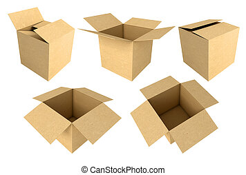 Cardboard boxes isolated on white background, 3d render