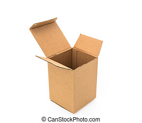Cardboard boxes isolated on white background .