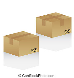 cardboard boxes, isolated on white background