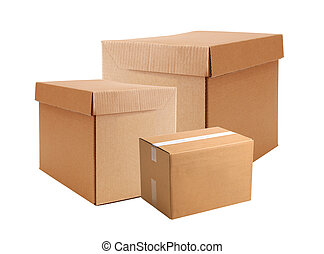 Cardboard boxes isolated on white background
