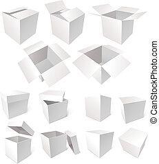 Cardboard boxes isolated on white background, vector illustration