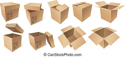 Cardboard boxes isolated on white background, vector...