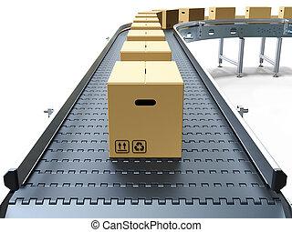 Cardboard boxes on conveyor belt white background 3D...