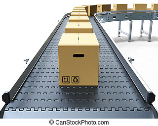 Cardboard boxes on conveyor belt white background 3D...