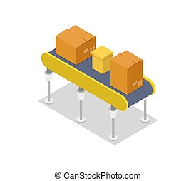 Cardboard boxes on conveyor isometric 3D icon