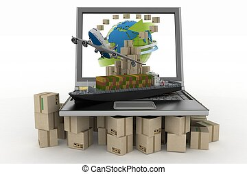 Cardboard boxes on laptop screen, cargo ship and plane