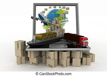 Cardboard boxes on laptop screen, cargo ship, truck and plane