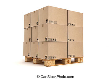 Cardboard boxes on pallet. Cargo, delivery and...