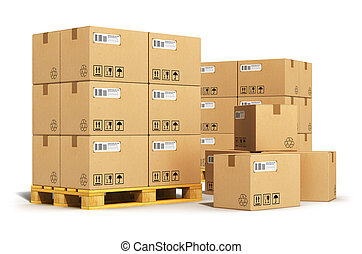 Creative abstract cargo, delivery and transportation logistics storage warehouse industry business concept: group of stacked corrugated cardboard boxes on wooden shipping pallets isolated on white background Design is my own and all text labels are fully abstract