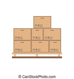 Cardboard boxes on wooden palette flat