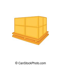 Cardboard boxes on wooden palette icon