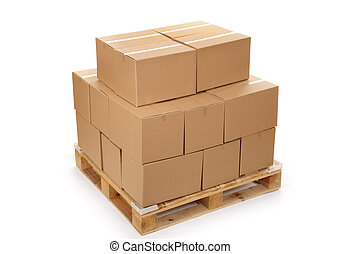 cardboard boxes on wooden palette, isolated on white