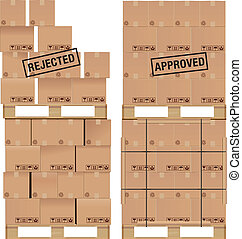 Cardboard boxes on wooden palette - Cardboard boxes set on a...