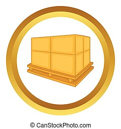 Cardboard boxes on wooden palette vector icon