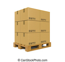 Cardboard Boxes On Wooden Pallet