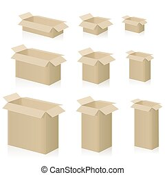 Cardboard Boxes Open Set Different Sizes Isolated