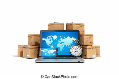 cardboard boxes package parcels and laptop - Logistic, cargo, delivery, and shipping concept 3D rendering