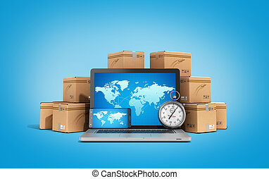 cardboard boxes package parcels and laptop - Logistic, cargo, delivery, and shipping concept 3D rendering on gradient backgrownd