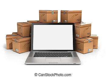 cardboard boxes package parcels and laptop - Logistic, cargo, delivery, and shipping concept.3D rendering