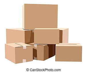 Cardboard boxes - Pile of cardboard boxes on a white ...