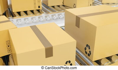 Cardboard boxes progresses along conveyor belt loopable...