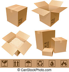 Cardboard boxes. - Set of cargo cardboard boxes and signs.