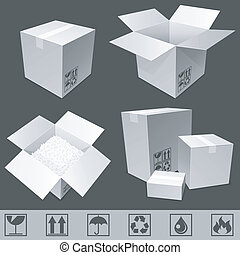 Set of white cardboard boxes and signs.
