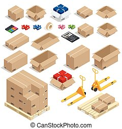 Cardboard Boxes, Set opened or closed, sealed with tape big ...