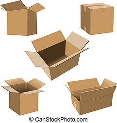 Cardboard Boxes Set - Set of realistic vector cardboard...