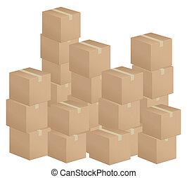 cardboard boxes stack - Cardboard boxes stack on white...