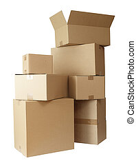 stack of carton boxes post package on white background with clipping path